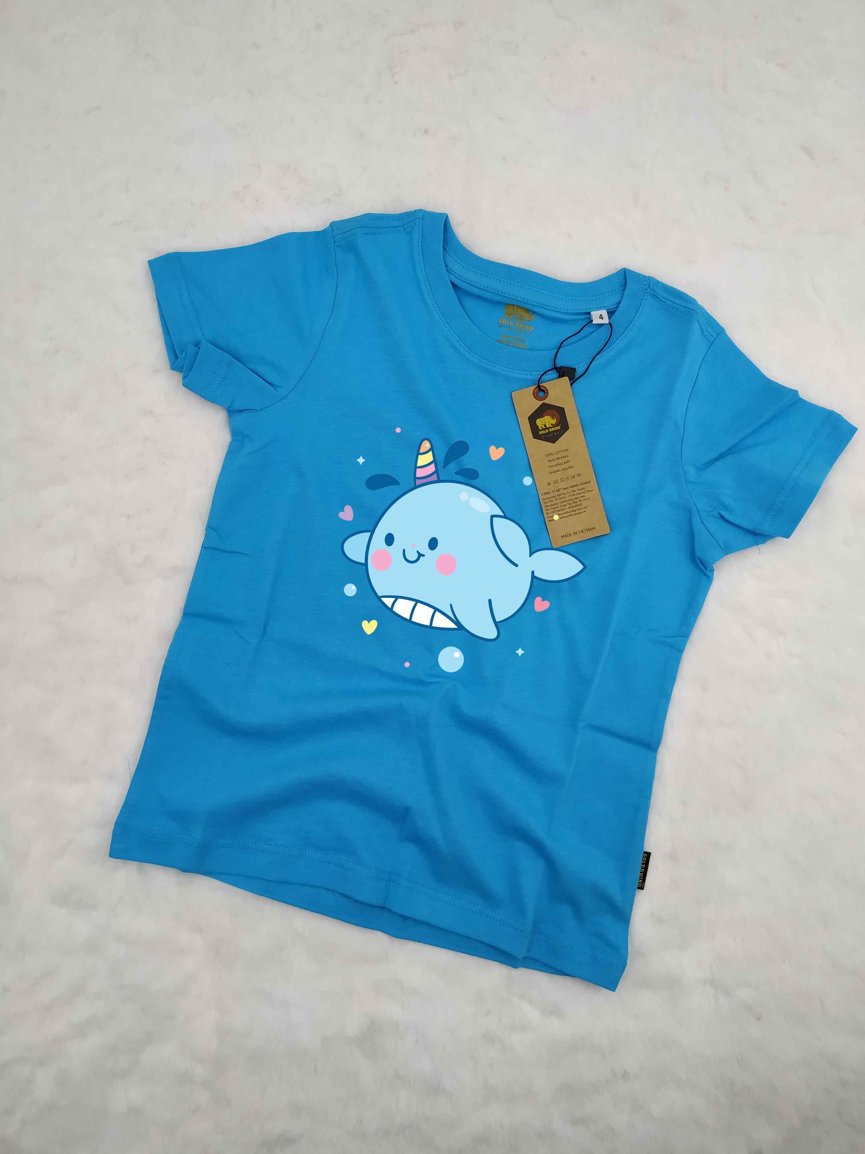 Áo thun hình cá heo cho bé dệt may theo công nghệ thoát nhiệt nhật bản (xanh da trời)