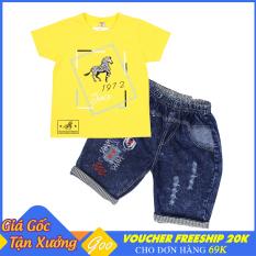 Set đồ bé trai quần Lửng Jean phối áo thun cotton 100% cho bé từ 19-36kg – Vải thấm hút mồ hôi tốt [ ẢNH THẬT 100% DO SHOP CHỤP ]