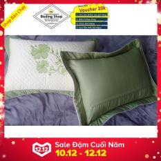 Bộ 2 áo gối Sunzin Thêu Vi Tính chần bông KT 45cmx65cm ( phối màu kem)