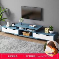 Kệ tivi A1960 (120-190)*30*36cm, Gỗ MDF phủ melamin chống thấm (Màu xanh)