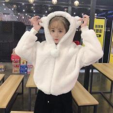 Áo Khoác Nữ Lông Tai Gấu Khoá Bông Tròn Siêu Cute (kèm ảnh thật)