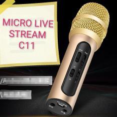 Micro C11 thu âm live stream loại cao cấp kèm tai phone Âm thanh mạnh mẽ Kết nối đơn gian