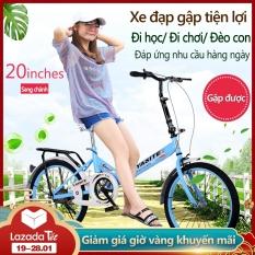 Xe đạp 20 inch có thể gấp gọn 2 màu xanh lam xanh lá xe đạp cho thanh niển, người già camry