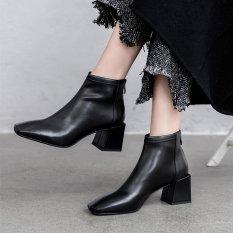 (Bảo hành 12 tháng) Giày boot nữ cổ ngắn mũi vuông gót tràn viền thời trang cao cấp – Giày boot gót vuông nữ cao 5cm – Giày nữ da mềm 3 màu Đen – Trắng – Nâu – Linus LN229