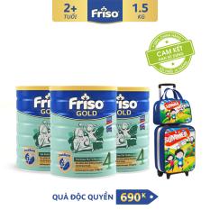 [Freeship toàn quốc] Bộ 3 lon sữa bột Friso Gold 4 1.5 kg cho trẻ từ 2-4 tuổi + Tặng Bộ vali kéo du lịch phiên bản độc quyền trị giá 690K