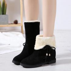 Boot nữ da lộn – Bốt nữ độn đế 3cm – Boot nữ đi được 2 kiểu dáng cổ cao và bẻ cổ – Giày bốt nữ lót lông mùa đông