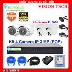 Trọn bộ camera 4 mắt – trọn bộ 4 camera – Bộ KIT 4 camera IP(2 Dome- 2 Thân) 3.0MP KingWo [ TÍCH HỢP MIC ] (POE) Có ổ cứng 500G,mắt KIM LOẠI chống nước-Bảo hành 2 năm 1 đổi 1