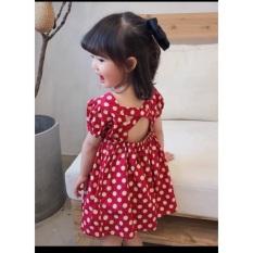 Váy bi đỏ hở lưng cho bé gái