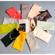 Bao da đựng mắt kính nhiều màu sắc ngẫu nhiên + kèm khăn lau kính