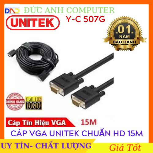 Cáp Vga UNITEK 15M (YC 507G)- Chính Hãng 100%, Bảo Hành 12 Tháng – 1 Đổi 1- Dây Cao Cấp Hỗ Trợ Độ Phân Giải Cao Lên Tới 1920x1080P full HD.