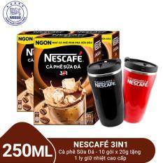 Mua 3 Hộp Nescafé 3in1 Cà phê Sữa Đá – 10 gói x 20g tặng 1 ly giữ nhiệt cao cấp 250ml
