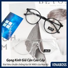 Kính giả cận nam nữ Hàn Quốc gọng dẻo VNTata – Gọng kính cận nam nữ không độ cao cấp tròng chống tia UV – Tặng kèm túi da và khăn lau