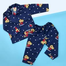 Pijama cho bé kate thái hình Cún mùa đông 10-40kg