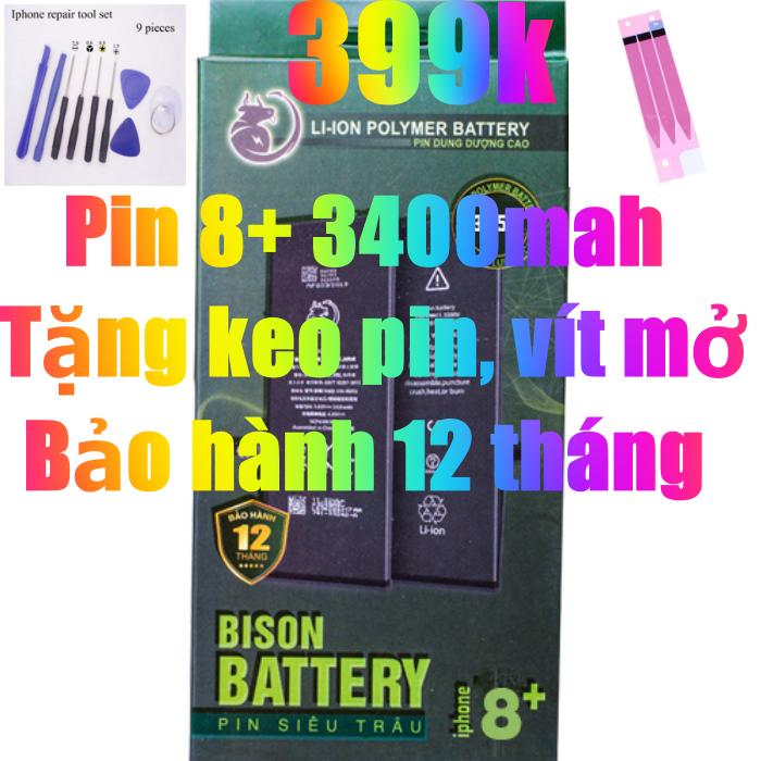 Pin iPhone 8 Plus dung lượng cao 3400mAh BISON chính hãng