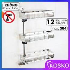 Kệ gia vị KOSKO không khoan tường inox 304 xoay 180 độ 3 tầng (Bảo hành 12 tháng – 1 đổi 1 trong 15 ngày) K-395GV-3T Kệ dựng gia vị, kệ nhà bếp đa năng