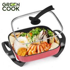 Chảo lẩu nướng điện vuông đa năng chuẩn Hàn Quốc Green Cook 5L- 30 cm – Hàng chính hãng