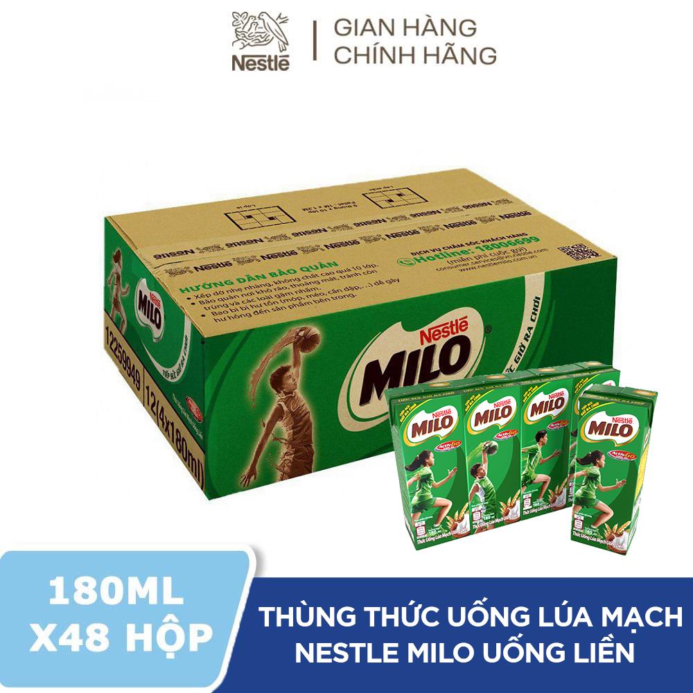 Thùng 48 Hộp Thức Uống Lúa Mạch Uống Liền Nestlé MILO 180ml – 12 lốc x 4 hộp