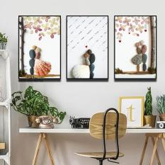 Bộ 3 tranh canvas 40x60cm kèm Khung Viền 3D Nổi Bật – Khung Hình Phạm Gia PGTK506