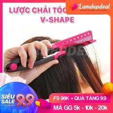 [FS 98K + QUÀ TẶNG 9.9] Lược chải tóc đa năng V-Shape – duỗi thằng – uốn cúp – phồng tóc 3in1 – Lamdepdeal