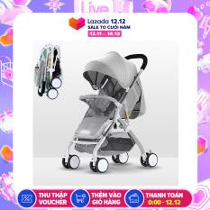 {Trọng tải 45kg} Xe đẩy em bé gấp gọn siêu nhẹ 3 tư thế, stroller baby, chất liệu hợp kim nhôm với trong lượng chỉ 6kg, mẫu mới nhất (xám) YOYO