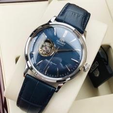 Đồng hồ Nam Orient Bambino Open Heart/Hở tim RA-AG0005L10B Automatic Mặt xanh,Kính cứng cong-Máy cơ tự động-Dây da xanh cao cấp-Size 40mm