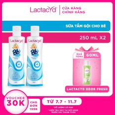 Bộ 2 chai Sữa Tắm Gội Trẻ Em Lactacyd Bb Giảm Rôm Sảy & Hăm Kẽ Vượt Trội 250ml/chai