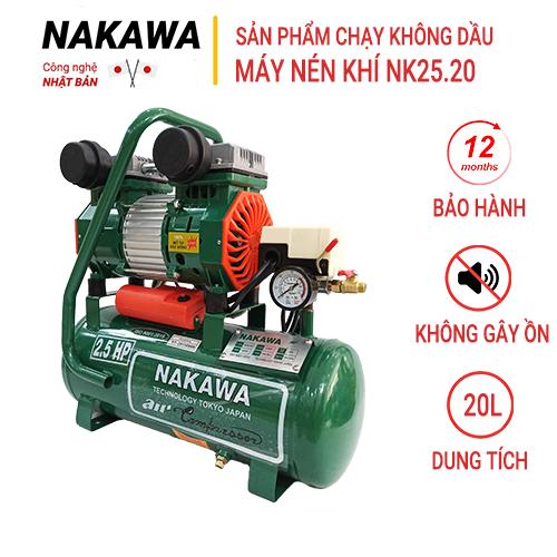 Máy nén khí gia tốc NAKAWA NK25.20, Máy chạy không dầu, Công suất 2.5HP, Bình 20L, Lên hơi siêu nhanh