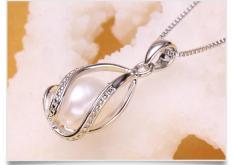 trang sức lồng ngọc trai hot: mặt dây chuyền sành điệu(TRẮNG)