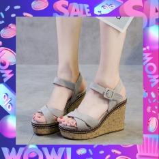 Giày Sandal Nữ Đế Xuồng Họa Tiết Quai Chéo Thời Thượng 9cm