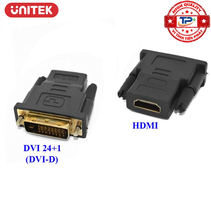 Đầu chuyển cổng DVI chuẩn 24 + 1 chân sang HDMI hiệu Unitek Y-A007A ( DVI-D to HDMI )