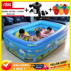 [CHỌN COMBO ] Bể bơi phao đại dương trẻ em 3 tầng ( 130 X 90 X 55 cm ) giá rẻ có họa tiết ngỗ nghĩnh đáng yêu , Hồ bơi dành cho trẻ em người lớn – BB1M3