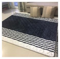 Thảm lông Trãi sàn cao cấp 1,8*2m màu xanh sọc trắng