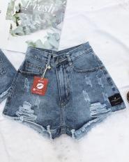 Quần short đùi jean nữ kiểu dáng lưng cao