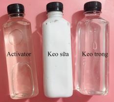 Keo trong + Keo sữa + Dung dịch làm đông slime activator – Nguyên liệu làm slime