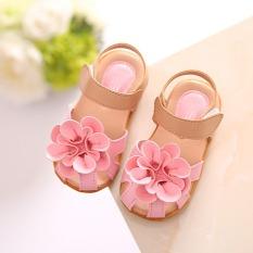 Giày tập đi siêu nhẹ-giày sandal bé gái-sandal quai dán chùm hoa to đế cao su êm chân cho bé gái