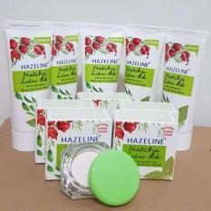 (NHH) Trọn bộ 10 món: 5 hộp kem nén dưỡng trắng Hazeline matcha (3g/hộp), 5 tuýp sữa rửa mặt sáng da Hazeline matcha (15g/ tuýp) + Tặng túi đựng mỹ phẩm xinh xắn