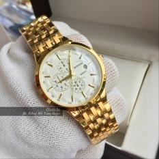 đồng hồ nam nữ dây vàng mặt trắng chống nước chống xước BSP01