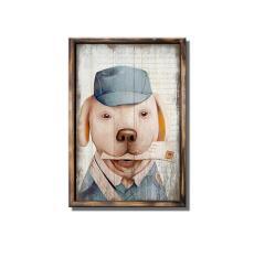 Tranh treo tường gỗ sơn dầu Vintage (40x60cm) – Chó Đưa Thư