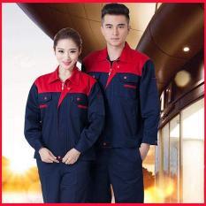 Quần áo bảo hộ lao động SHUNI BBH04 kaki loại dày khóa kéo (than phối đỏ)