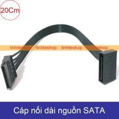 Cáp nguồn SATA kéo dài 20Cm DIY 1 đầu thẳng 1 đầu bẻ góc (màu đen)