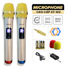Micro không dây C.O.K ST-123 (2 Micro), Micro Karaoke phù hợp với mọi loa kéo & dàn âm ly, Jack 6.5, bắt âm tốt] – Hàng mới 100% chính hãng bảo hành 6 tháng