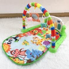 Thảm nằm chơi nhạc hình thú ngộ nghĩnh cho bé hình chú khỉ màu xanh lá 9BABY