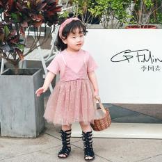 [Cao cấp] Váy lưới hồng kim tuyến xinh xắn cho bé