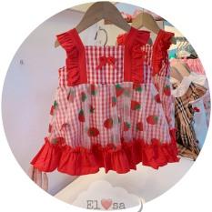 Váy bé gái phối ren họa tiết dâu tây siêu xinh cho bé từ 1-5 Tuổi