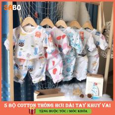 COMBO 5 Bộ Cotton Thông Hơi Dài Tay Khuy Vai Cho Bé Từ 4-14kg SABO; TẶNG KÈM Dây buộc tóc hoặc Móc khóa hoạt hình