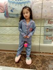 pijama phi lụa mờ dài tay in vương miện HÀNG CHUẨN SHOP cho bé từ 14 đến 40kg 0205