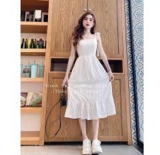 [mẫu mới may ] váy đầm nữ trắng dễ thương 2 dây xòe xếp li, dự tiệc cưới, dạo phố cực chất [vải xịn]