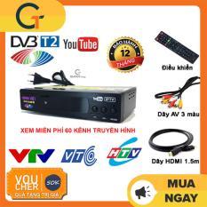 Đầu thu kỹ thuật số Hùng Việt TS123 tặng kèm bộ phụ kiện 3 món: điều khiển + dây HDMI + dây AV