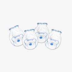 Set 2 đôi Bao tay bèo Teddy trắng xanh – Miomio – Dành cho bé từ 0-24 tháng