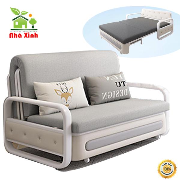 Giường sofa gập gọn – Giường sofa đa năng thông minh, Khung thép cao cấp không gỉ đệm bọt biển cực êm. KT 190 x 120 cm Tặng kèm 2 gối ôm ( Màu Xám Đậm, Xám Nhạt ) – M001-1